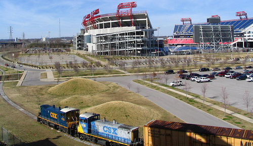A Train goes by the Coliseum