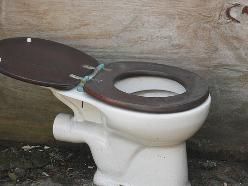 A dirty old toilet